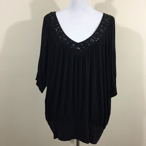 Apt 9 Black Jeweled Neckline Blouse